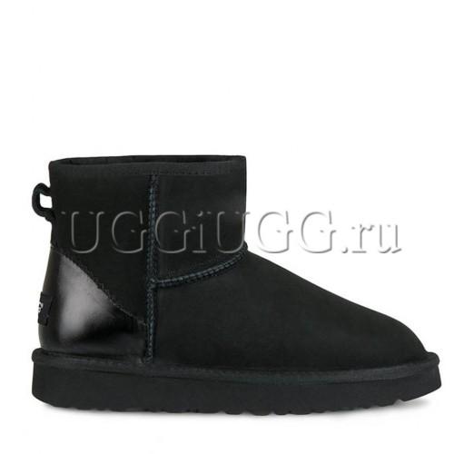 Черные угги мини с кожаным задником UGG Classic Mini II Metallic Black