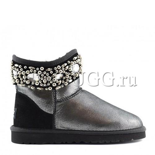 Черные блестящие угги с камнями UGG Jimmy Choo Crystals Glitter Black
