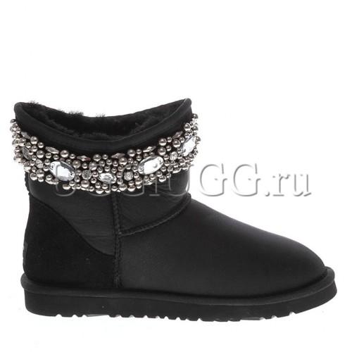 Черные обливные угги с камнями UGG Jimmy Choo Crystals Metallic Black