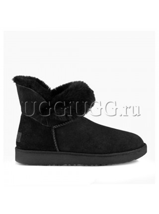 Угги мини черные с отворотом UGG Mini Classic Cuff Black