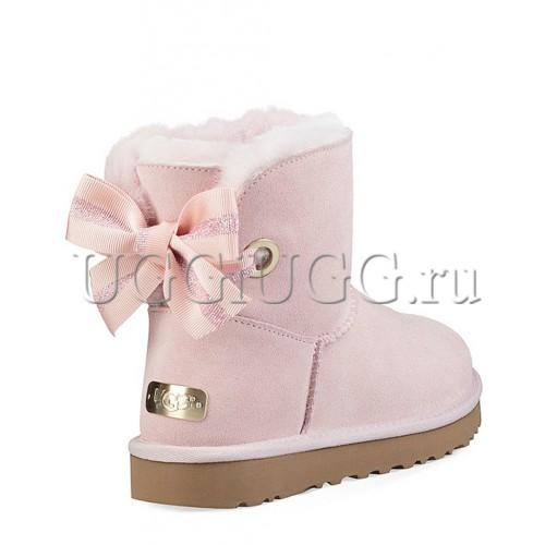 Угги мини с лентой розовые UGG Customizable Bailey Bow Mini Seashell Pink