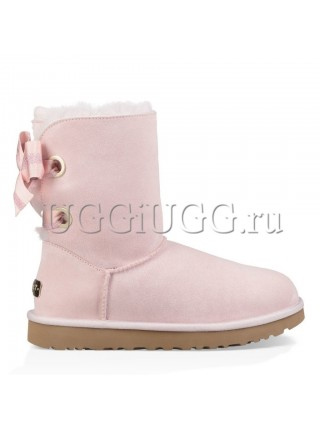 Угги с лентами розовые UGG Customizable Bailey Bow Seashell Pink