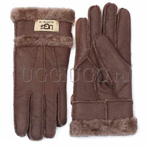 Коричневые кожаные перчатки UGG Gloves Tenney Chocolate