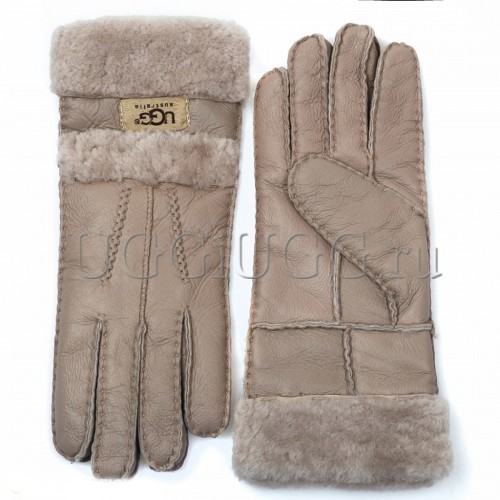 Серые кожаные перчатки UGG Gloves Tenney Grey