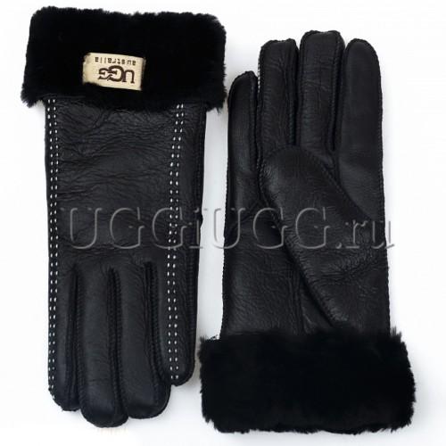 Черные кожаные перчатки UGG Gloves Tenney Black