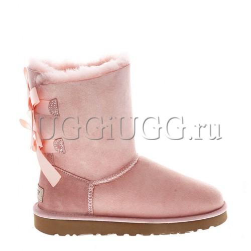Короткие угги с лентой бледно-розовые UGG Bailey Bow II Pink