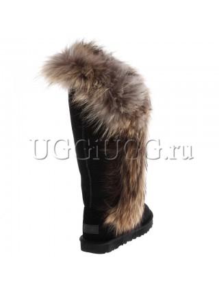 Высокие угги с мехом лисы UGG Classic Tall II Fox Redhead Black