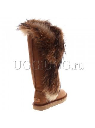 Высокие угги с мехом лисы UGG Classic Tall II Fox Redhead Chestnut