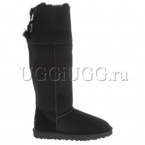 Черные угги ботфорты UGG Over The Knee Bailey Button II Black