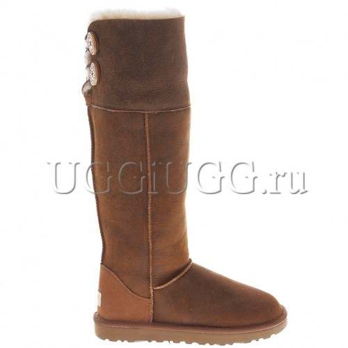 Рыжие угги ботфорты бомбер UGG Over The Knee Bailey Button II Bomber Chestnut