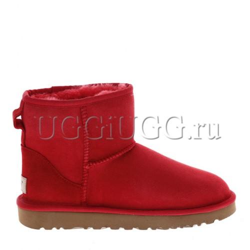 Женские красные мини угги непромокаемые UGG Classic II Mini Red