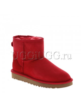Женские угги мини красные UGG Classic II Mini Red
