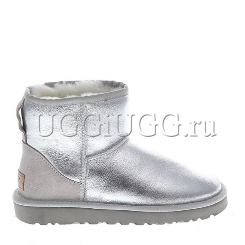 Женские серебристые угги мини UGG Classic II Mini Metallic Silver