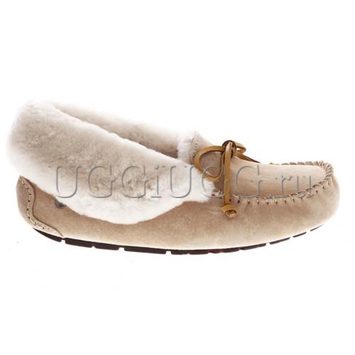 Женские высокие мокасины бежевые UGG Moccasins Alena Dark Sand