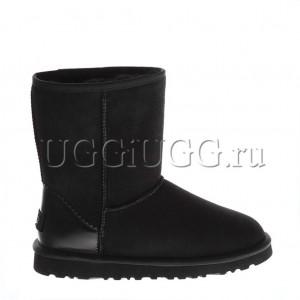 Черные угги с кожаным задником UGG Classic II Short Metallic Black