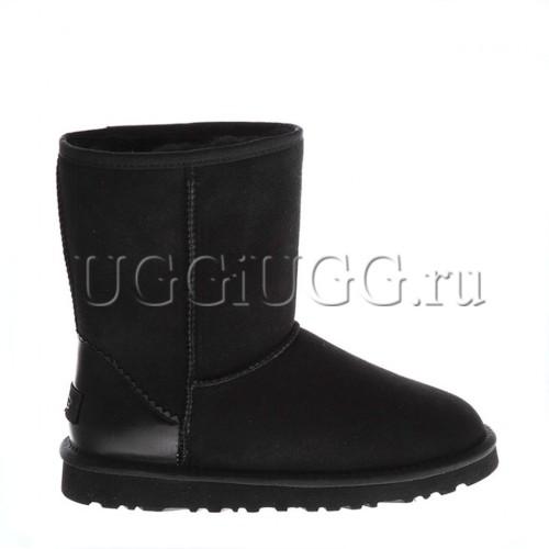 Короткие черные угги с кожаным задником UGG Classic II Short Metallic Black