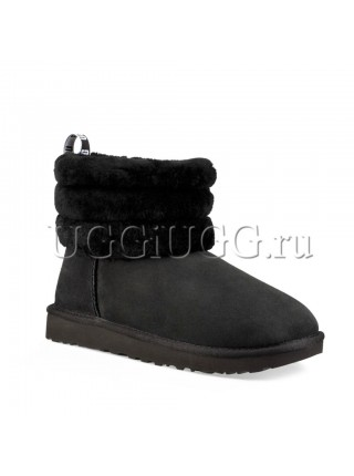 UGG Fluff Mini Quilted Logo Black