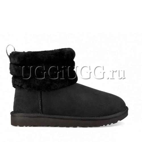 Мини угги с опушкой черные UGG Fluff Mini Quilted Logo Black