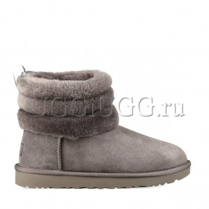 UGG Fluff Mini Quilted Logo Charcoal
