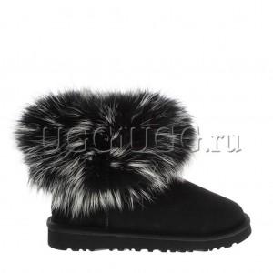 Женские черные угги с мехом лисы чернобурки UGG fox fur black