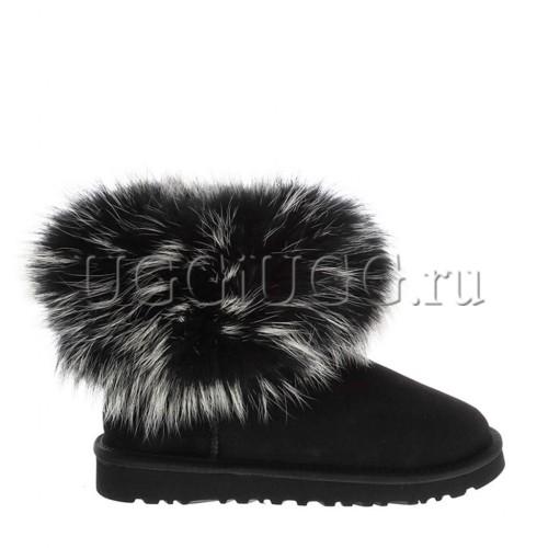 Черные угги с мехом лисы чернобурки UGG fox fur black