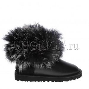 Женские угги с мехом лисы чернобурки черные обливные UGG fox fur metallic black