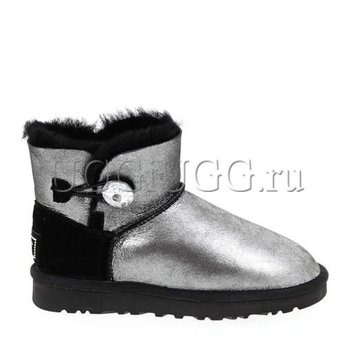 Женские угги с пуговицей мини черные глиттер UGG Mini Bailey Bling Glitter Black