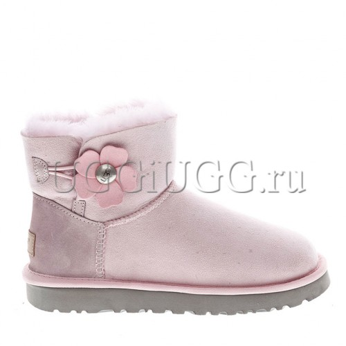 Мини угги с пуговицей розовые UGG Mini Bailey Button Poppy Lavender Fog