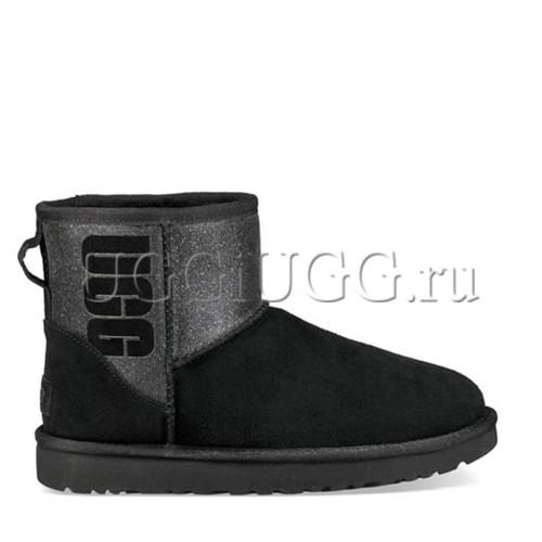Мини угги с логотипом черные UGG Classic Mini Logo Sparkle Black
