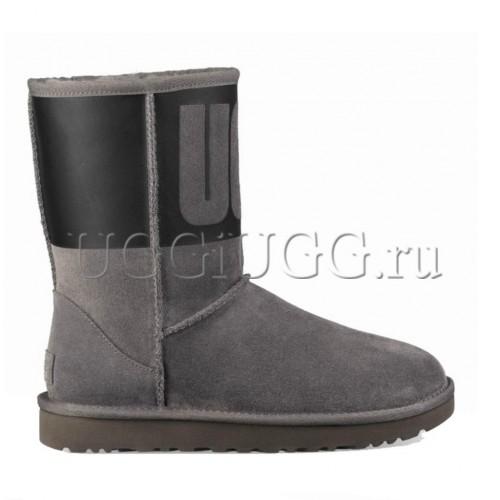 Короткие угги с логотипом серые UGG Classic Short Logo Sparkle Grey