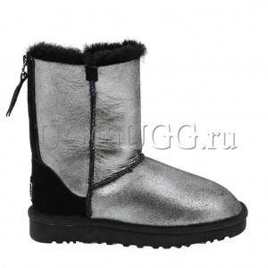 Женские угги на молнии короткие черные глиттер UGG Short Zip Glitter Black