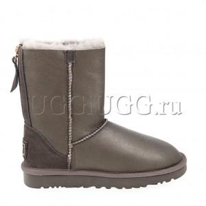 Женские угги на молнии короткие обливные серые UGG Short Zip Metallic Pewter