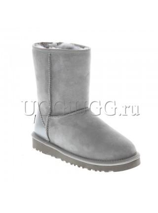 Серые угги с кожаным задником UGG Classic II Short Metallic Grey Violet