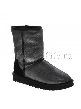 Женские угги короткие черные глиттер UGG Classic Short Metallic Glitter Black