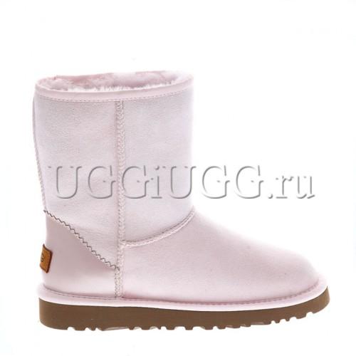 Короткие розовые угги с кожаным задником UGG Classic II Short Metallic Seashell Pink