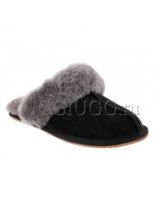 Женские тапочки угги черные UGG Slipper Scufette II Black