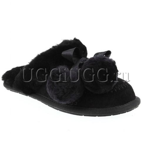 Тапочки угги черные с помпонами UGG Slipper Hafnir Pom Black