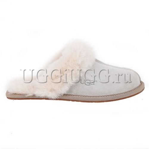 Светло-серые женские тапочки угги UGG Slipper Scufette II Grey
