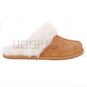 Женские тапочки угги рыжие UGG Slipper Scufette II Chestnut