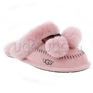 Тапочки угги розовые с помпонами UGG Slipper Hafnir Pom Dusk