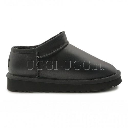 Угги слиперы черные обливные UGG Slipper Tasman Metallic Black