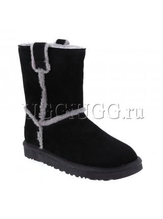 Женские короткие черные угги UGG Classic Short Speel Seam Black