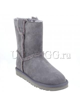 Женские короткие серые угги UGG Classic Short Speel Seam Grey