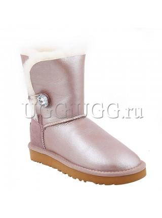 Розовые обливные угги с пуговицей кристаллом UGG Bailey Bling Metallic Azure