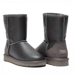 Короткие угги обливные серые UGG Australia Classic Short Metallic Grey