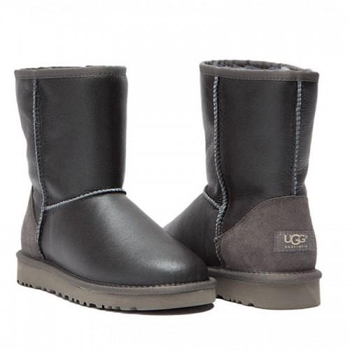 Серые короткие угги обливные UGG Australia Classic Short Metallic Grey