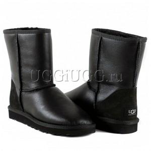 Короткие угги обливные черные UGG Australia Classic Short  Metallic Black