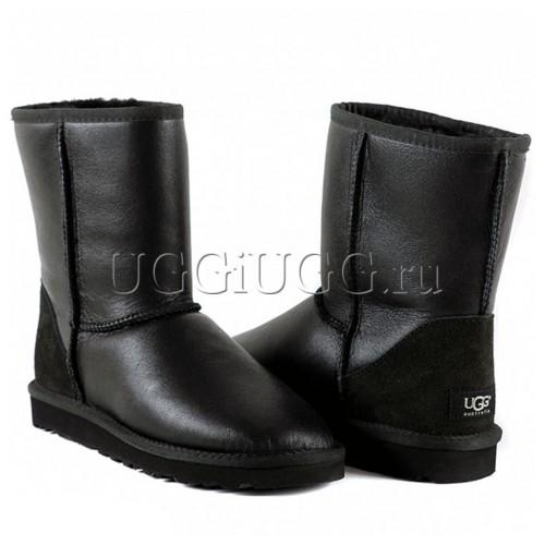 Черные угги короткие обливные UGG Australia Classic Short  Metallic Black
