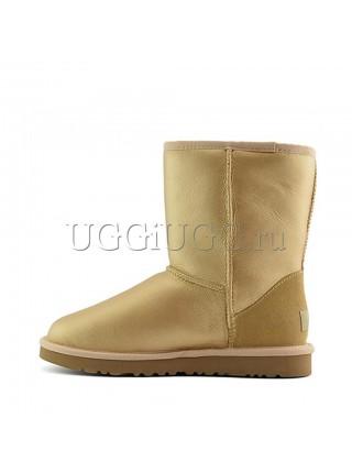 Короткие угги обливные золотистые UGG Australia Classic Short Soft Gold