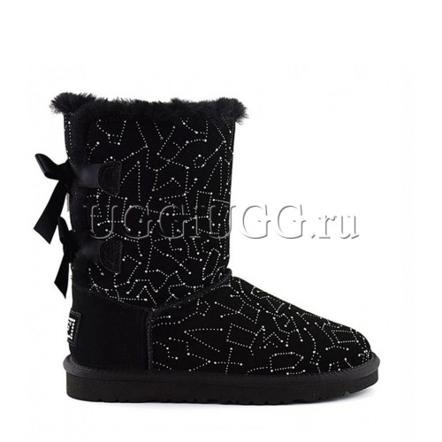 Черные угги в стразах с лентой сзади UGG Bailey Bow Constellation Black
